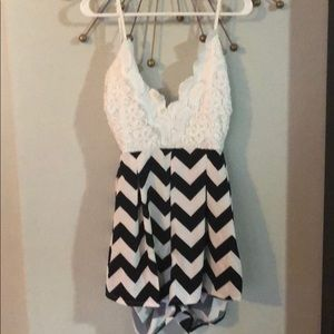 Romper black and white from Charlotte Russe